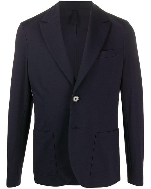 Harris Wharf London Blue Fitted Single-breasted Blazer for men