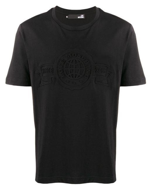 メンズ Love Moschino エンボスロゴ Tシャツ Black