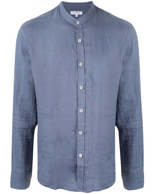 メンズ Venroy バンドカラー シャツ Blue