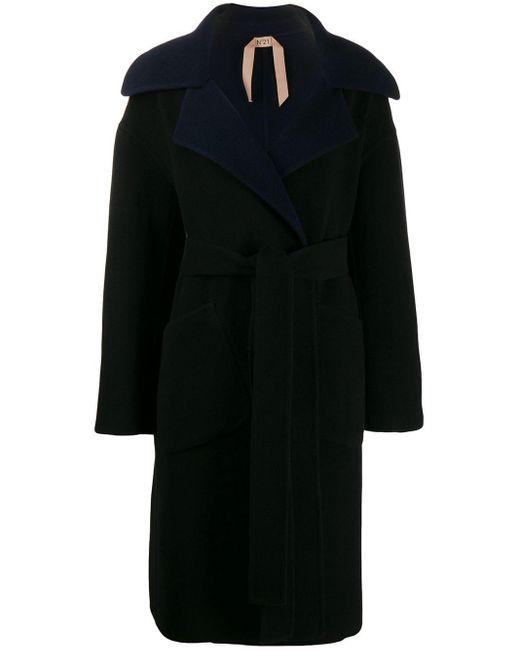 N°21 オーバーサイズカラー コート Black