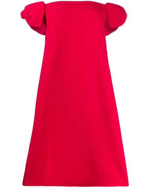 Valentino リボンショルダー ドレス Red