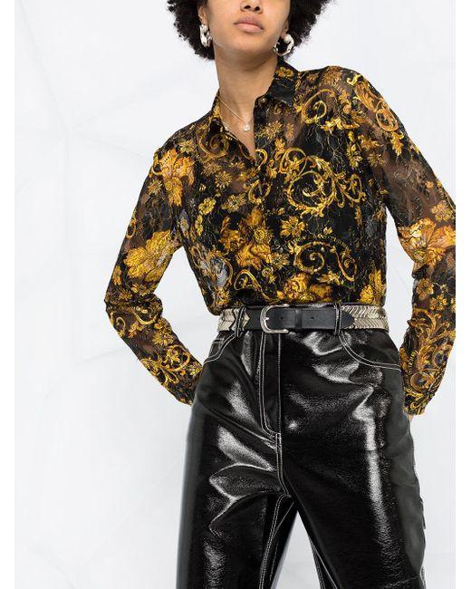 Versace Jeans フローラル パネル シャツ Black