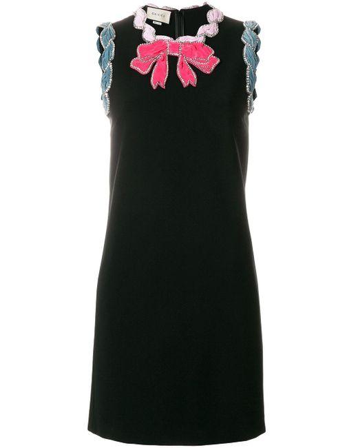 Robe courte à ornements Gucci en coloris Black