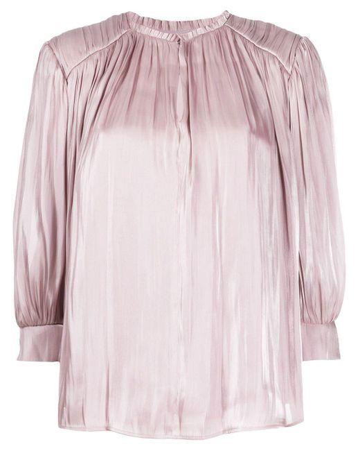 Rebecca Minkoff Blusa con detalle de pliegues de mujer de color rosa TFASh