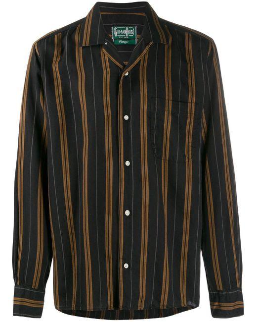 メンズ Gitman Brothers Vintage ストライプ シャツ Black