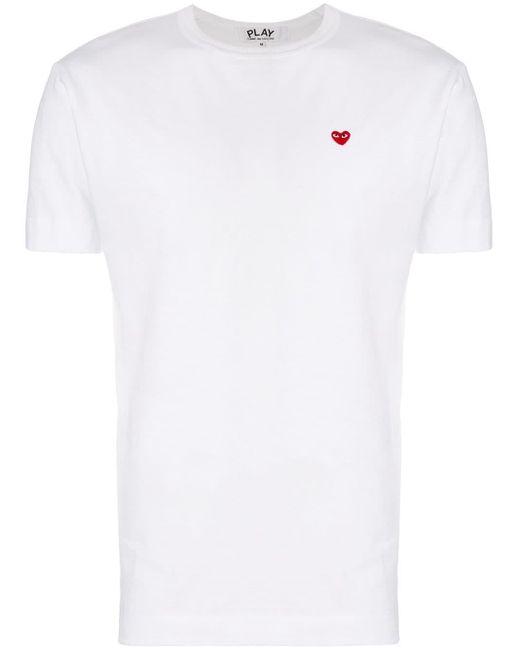 メンズ COMME DES GARÇONS PLAY ハートロゴ Tシャツ White