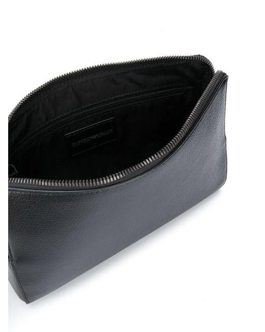 メンズ Emporio Armani エンボス トラベルポーチ Black