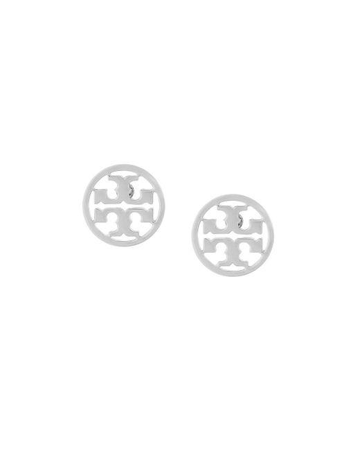Tory Burch Logo Circle Earrings Metallic