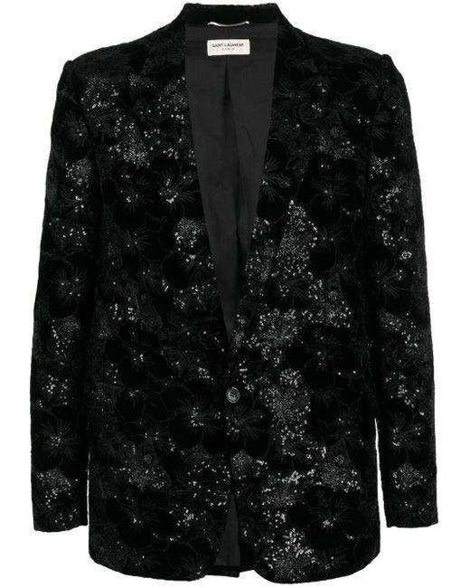 Blazer à simple boutonnage Saint Laurent pour homme en coloris Black