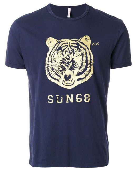 Sun 68 Tiger Logo T Shirt In Blue For Men Lyst