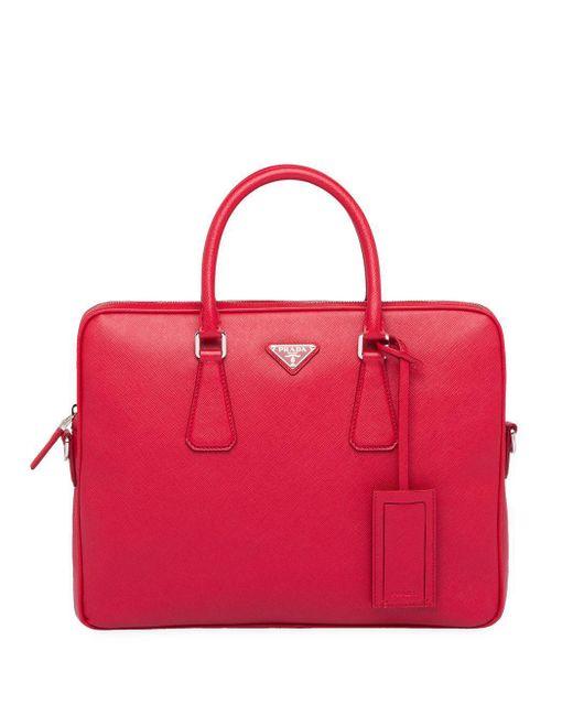 Prada Pink Saffiano Leather Briefcase for men