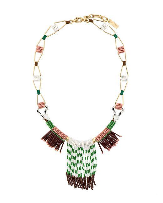 Rada' - Green Fringed Elongated Necklace - Lyst