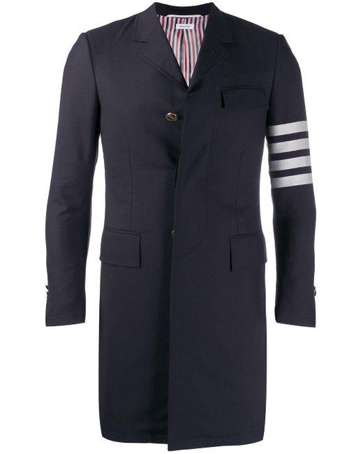Thom Browne Multicolor 4-bar Plain Weave Suiting Overcoat for men