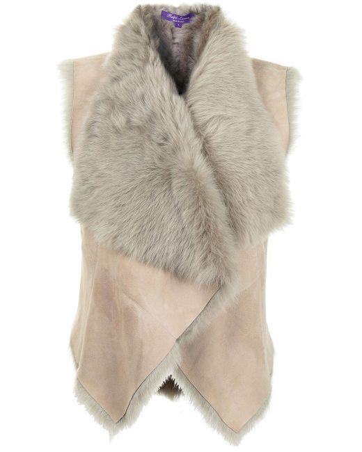 Ralph Lauren Collection Brown Shearling Short Waistcoat