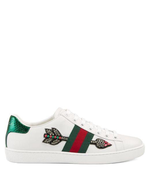 Gucci ホワイト ブリーディング アロー エース スニーカー Multicolor
