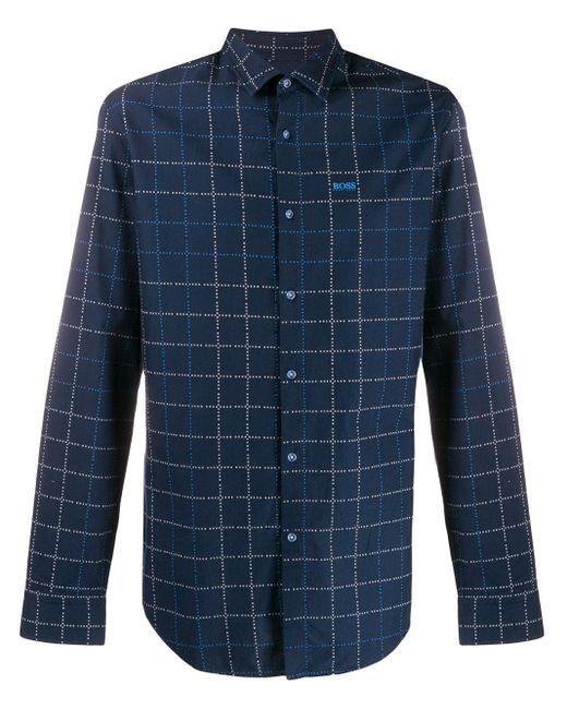 メンズ BOSS チェックシャツ Blue