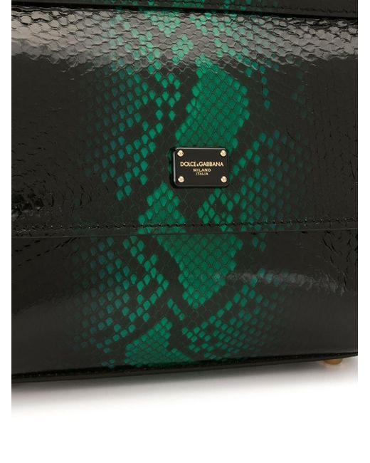 Dolce & Gabbana Sicily スネークパターン ハンドバッグ Green