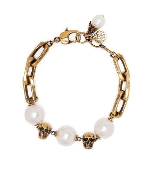 Bracelet à ornements en perle Alexander McQueen en coloris Metallic