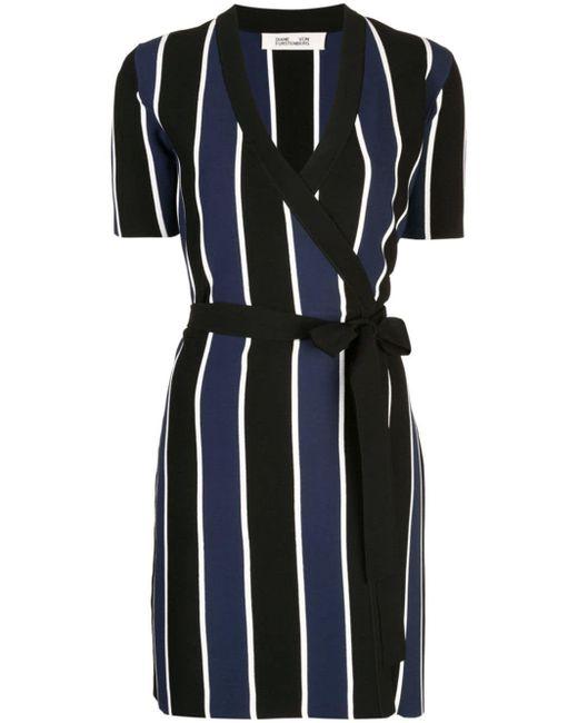 Diane von Furstenberg Vestido de punto Iris con diseño cruzado de mujer de color negro