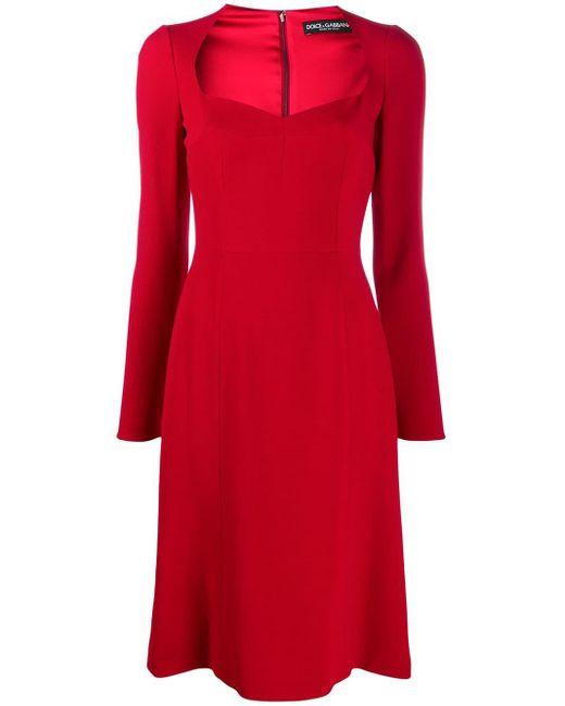 Dolce & Gabbana Vネック ミディドレス Red