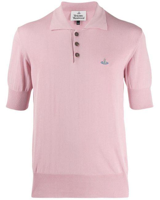 メンズ Vivienne Westwood パフスリーブ ロゴ シャツ Pink