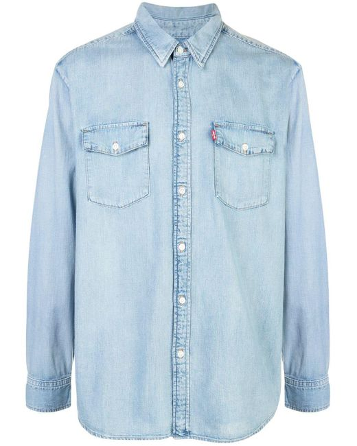 メンズ WARDROBE.NYC ロゴパッチ ポケットシャツ Blue