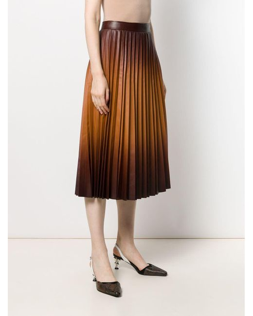 Givenchy Degradé Pleated Leather Midi Skirt In Light Brown