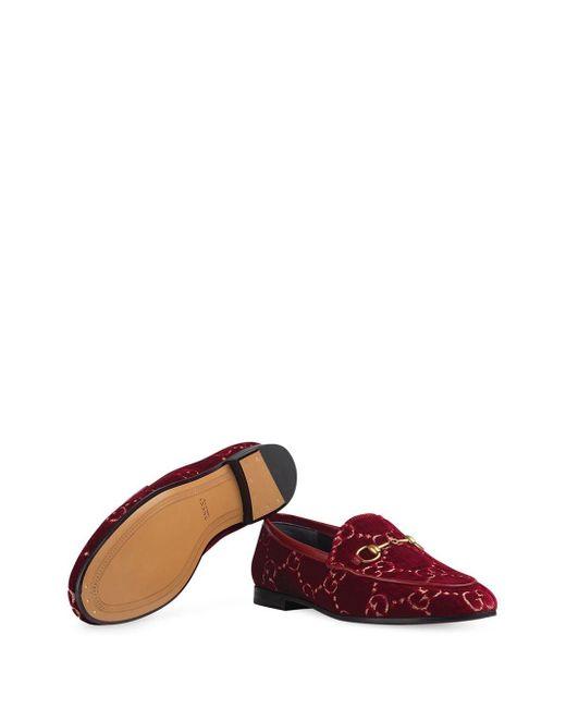 Бархатные Лоферы 'jordan GG' Gucci, цвет: Red