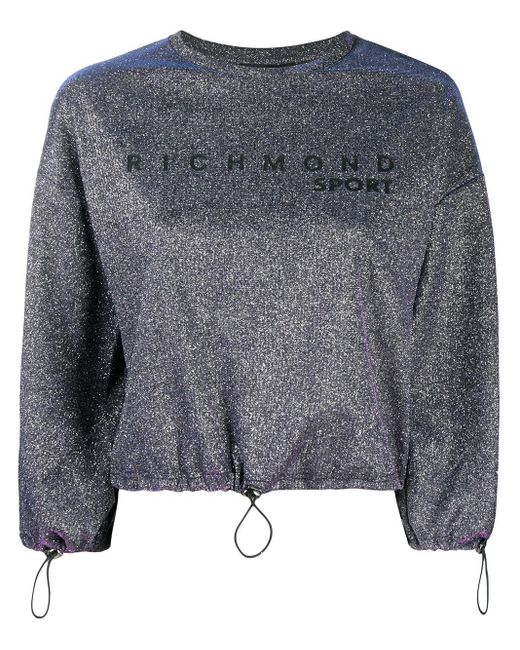 John Richmond Purple Sweatshirt im Metallic-Look