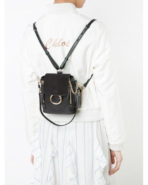 lyst chlo faye leather backpack in black save 7. Black Bedroom Furniture Sets. Home Design Ideas