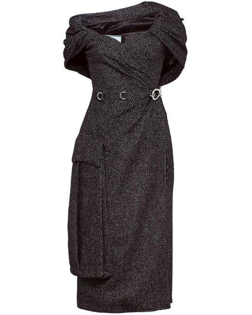 Prada Gray Oversized Pocket Sheath Dress