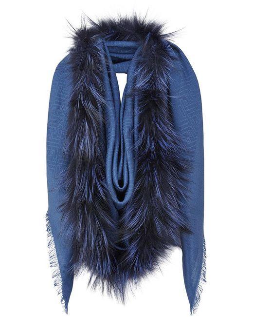 Fendi - Blue Touch Of Fur Shawl - Lyst