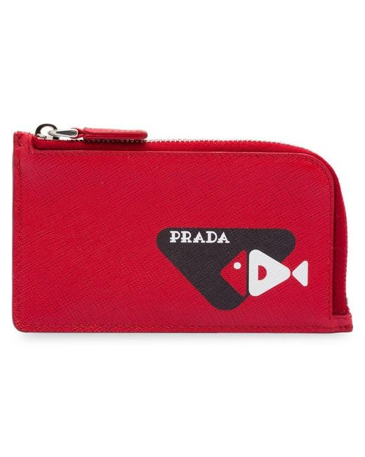 cdd8ee3e0b7151 Prada - Red Fish Sketch Motif Saffiano Leather Card Holder for Men - Lyst  ...