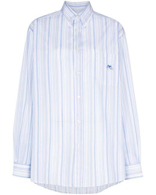 Etro Camisa de rayas con botones de mujer de color azul