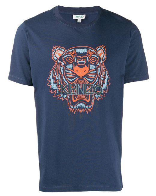 メンズ KENZO ブルー クラシック タイガー T シャツ Blue