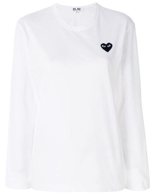 メンズ COMME DES GARÇONS PLAY Heart ロングtシャツ White