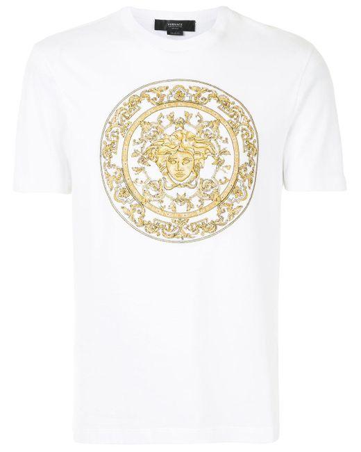 Футболка С Принтом Medusa Versace для него, цвет: White