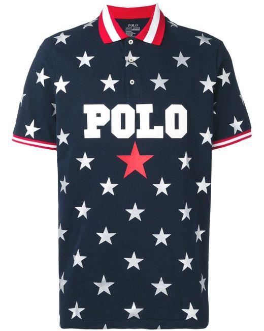 メンズ Polo Ralph Lauren プリント ポロシャツ Blue