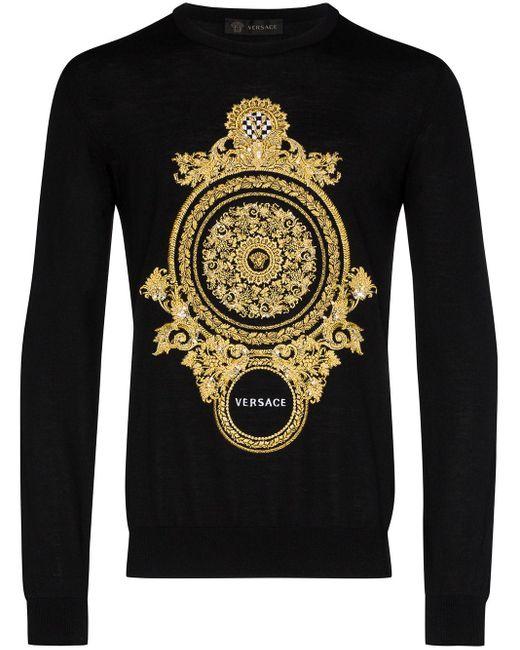 メンズ Versace バロックエンブロイダリー セーター Black