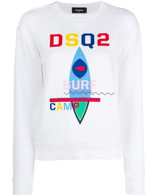 DSquared² | White Surf Camp Print Sweatshirt | Lyst