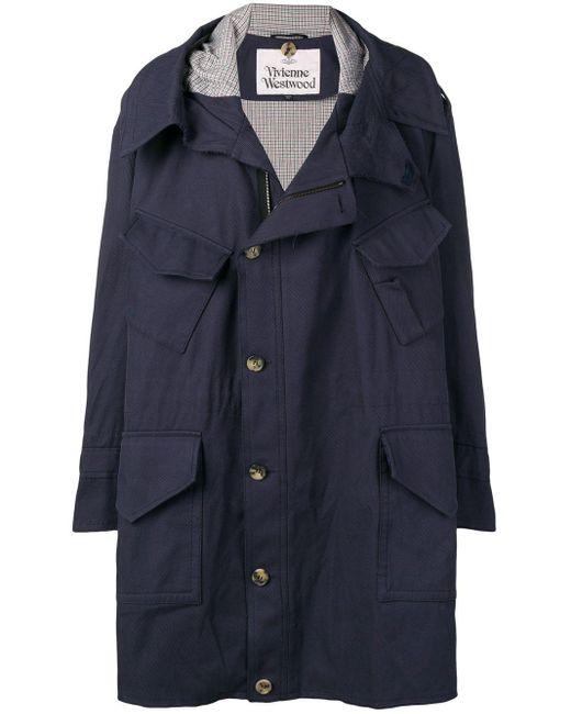 メンズ Vivienne Westwood オーバーサイズ パーカーコート Blue
