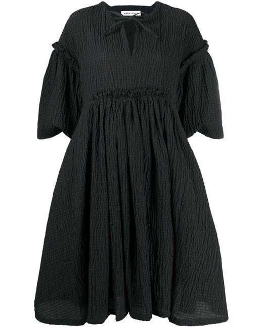 Henrik Vibskov Black Short-sleeved Frill Detail Dress