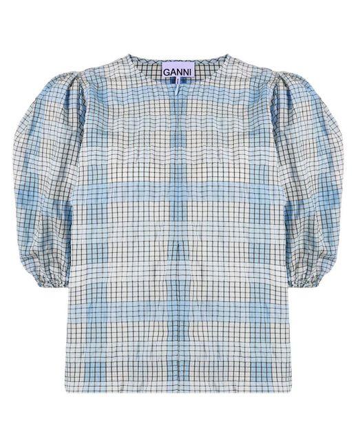 Клетчатая Блузка С Пышными Рукавами Ganni, цвет: Blue