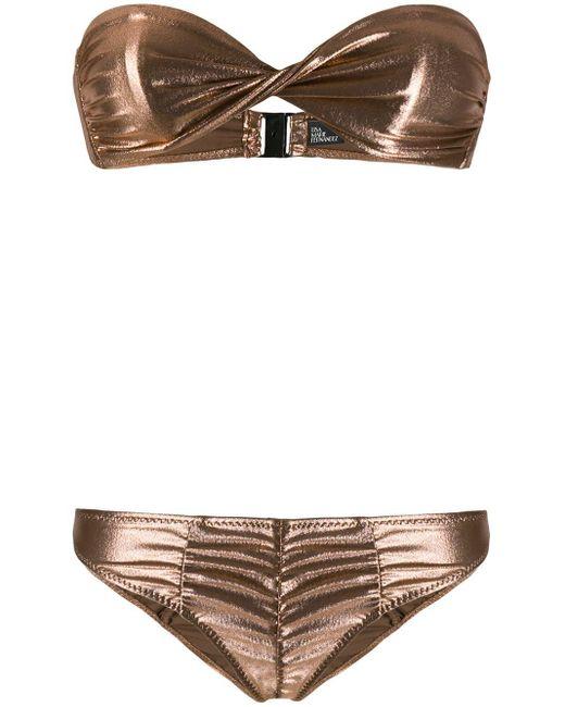 Bikini métallisé à fronces Lisa Marie Fernandez en coloris Pink