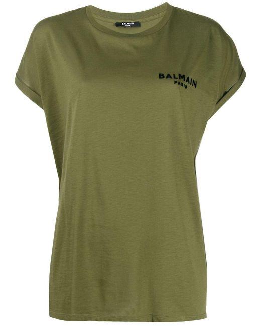 Balmain ロゴ Tシャツ Green