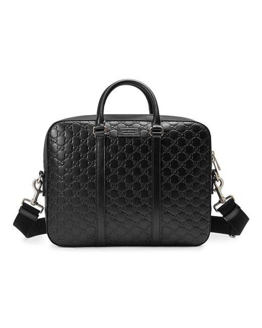 Mallette en cuir Signature Gucci pour homme en coloris Black
