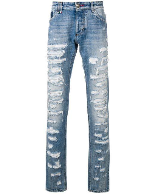 Jeans skinny con strappi di Philipp Plein in Blue da Uomo
