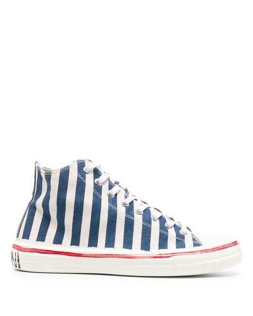 Marni Blue Stripe-pattern High-top Sneakers