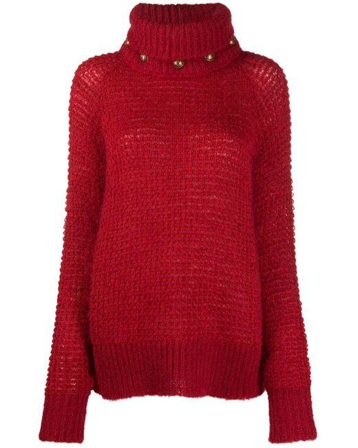 Jersey de cuello alto con detalle de botones Balmain de color Red