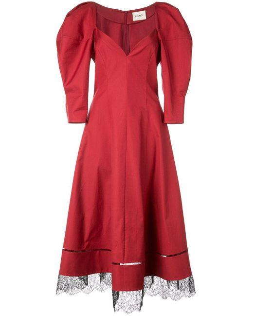 Khaite パフスリーブ ドレス Red